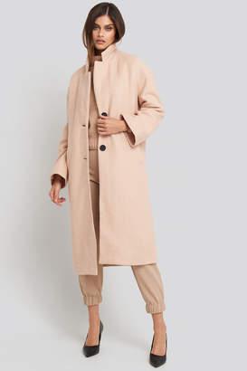 NA-KD Big Button Long Coat Beige