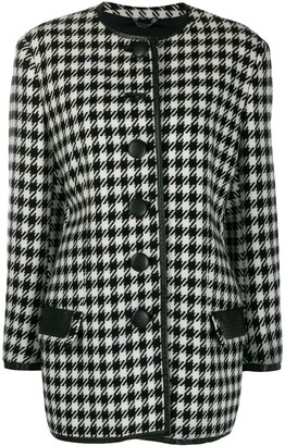 Versace Pre Owned 1980's Houndstooth Collarless Coat