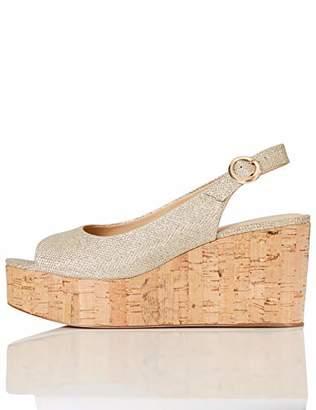 FIND Cork Peep Toe Sling Back Wedge Open Heels, Gold (Sparke Gold)