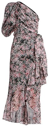 Giambattista Valli Silk One-Shoulder Floral Midi Dress