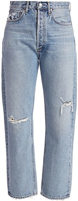 AGOLDE 90's Mid-Rise Loose Straight-Leg Distressed Jeans