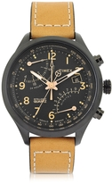 Timex Fly Back Chrono Black Stainless Steel Case and Tan Leather Strap Men's Watch