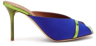 Malone Souliers Lucia Square-toe Satin And Metallic-leather Mules - Blue