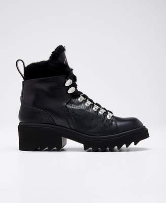 Chloé Bella Leather Fur-Lined Hiker Booties