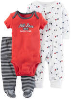 Carter's 3-Pc. Cotton All-Star Bodysuit, Coverall & Footed Pants Set, Baby Boys