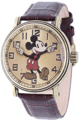 Character Disney Mens Mickey Mouse Brown Leather Strap Watch