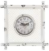"Lazy Susan 14"" Square Wall Clock Distressed White"