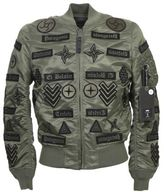 Marcelo Burlon County of Milan Patched Military Green Nylon Jacket