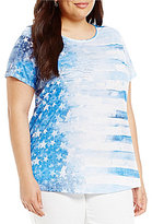 Allison Daley Plus Wide Crew-Neck Embellished Paint Stars Print Knit Top