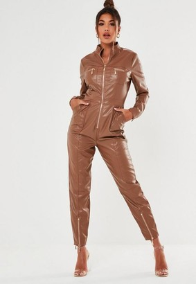 Missguided Faux Leather Zip Playsuit
