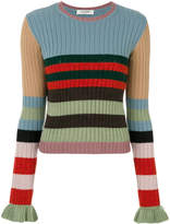 Valentino ribbed sweater with ruffled cuffs