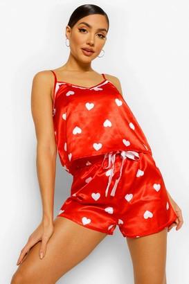 boohoo Heart Print Satin Cami and Short Set