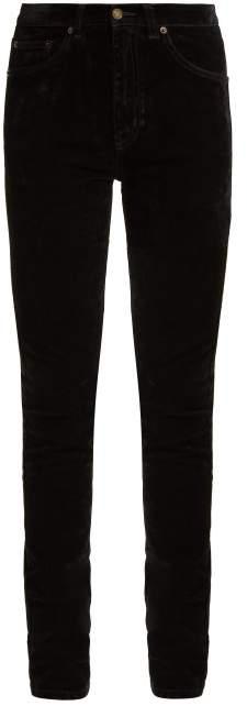 Saint Laurent Mid Rise Stretch Velvet Skinny Jeans - Womens - Black