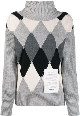 Ballantyne Argyle logo-patch turtleneck jumper