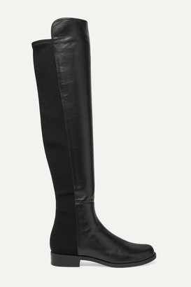 Stuart Weitzman 5050 Leather And Neoprene Knee Boots - Black
