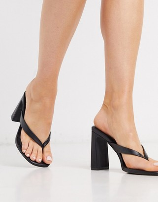 Qupid thong heeled mules in black