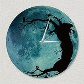 "LauderHome 12"" New Creative Luminous Moonlight Wall Clock 3D Watch Moon Glow In The Dark Clock Kids Wall Clock Decorations (Owl tree)"