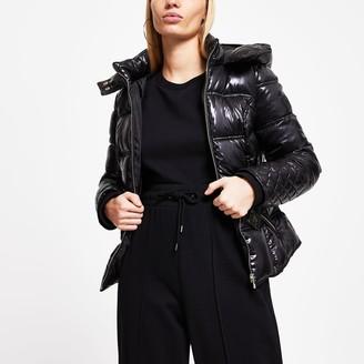 River Island Womens Black padded hood jacket