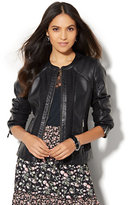New York & Co. Woven Faux-Leather Jacket - Black