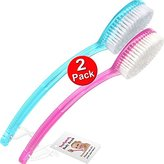 TopNotch Bath Brush with Long Handle 2 PACK Shower Body Back Brushes