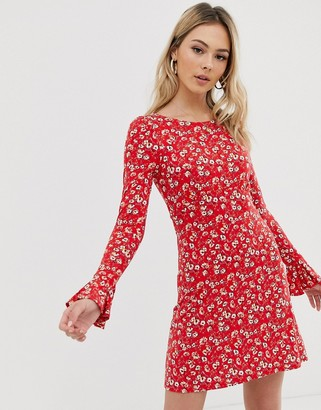 Free People say hello floral mini dress-Red