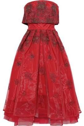 Zac Posen Strapless Layered Embroidered Organza Gown