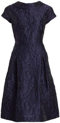 Floral Jacquard Cap Sleeve A-Line Dress