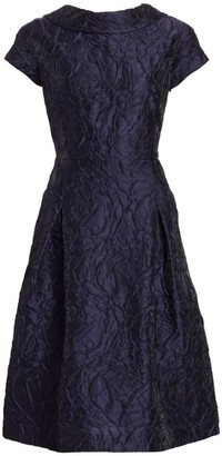 Teri Jon By Rickie Freeman Floral Jacquard Cap Sleeve A-Line Dress