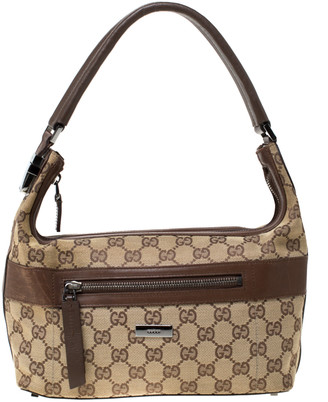 Gucci Beige/Brown GG Canvas and Leather Front Zip Shoulder Bag