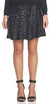 CeCe Sequin Mesh Flounce Hem A-line Skirt