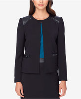 Tahari ASL Petite Studded Faux-Leather-Trim Jacket