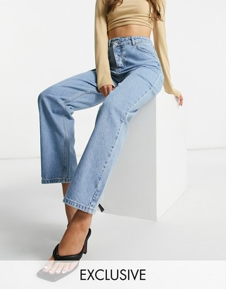 I SAW IT FIRST double button waist detail straight leg jeans in blue