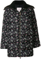 Moncler floral zipped puffer coat