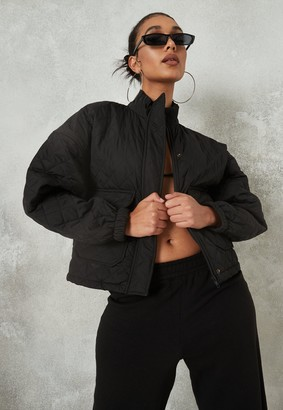 Missguided Black Quilted Zip Up Jacket