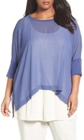 Eileen Fisher Plus Size Women's Sheer Georgette Shark Bite Hem Top