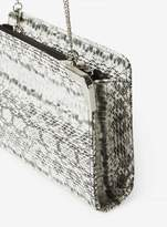 Dorothy Perkins Black Snake Print Metal Corner Boxy Clutch Bag