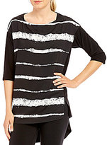 IC Collection Striped Front High-Low Hem Tunic