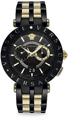 Versace V-Race IP Black Yellow Gold Two-Tone Bracelet Strap Watch