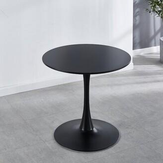 """George Oliver Elizabeth Street Pedestal Dining Table Color: Black, Size: 31.5"""" W x 31.5"""" L"""