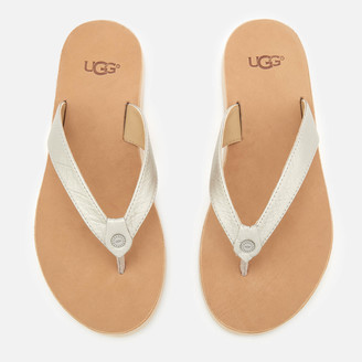 UGG Women's Tawney Metallic Flip Flops - Silver