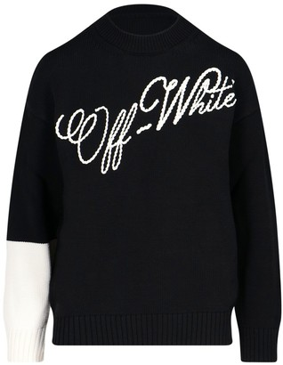 Off-White Logo Embroidered Crewneck Sweater