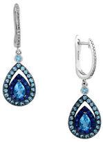 Effy Ocean Bleu Diamond and Blue Topaz 14K White Gold Drop Earrings, 0.1 TCW