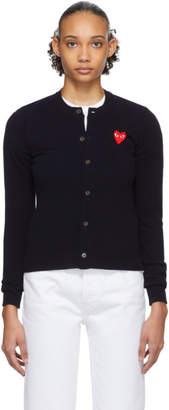 Comme des Garcons Navy and Red Heart Cardigan