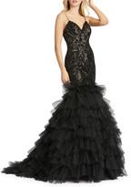Mac Duggal Damask Sequin Mermaid Gown w/ Tiered Ruffle Skirt