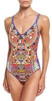 Camilla Embellished Reversible One-Piece Swimsuit, Rainbow Warrior