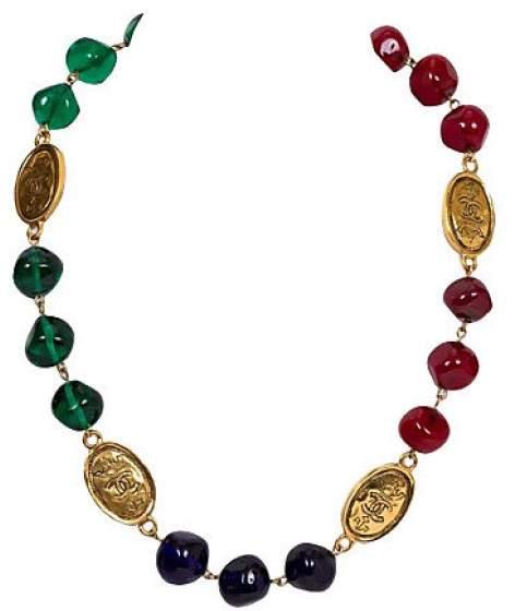 Chanel Tricolor Gripoix Coin Necklace