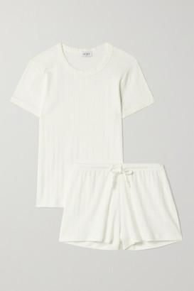 Leset Pointelle-knit Cotton-jersey Pajama Set - White