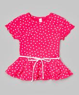 Mulberribush Light Fuchsia Polka Dot Belted Peplum Top - Toddler & Girls
