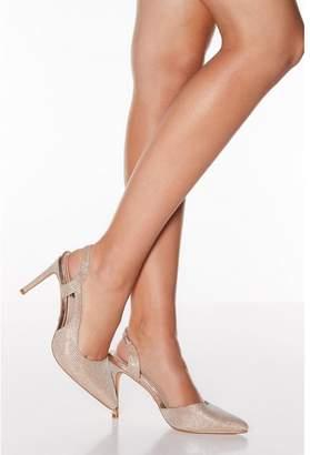 Quiz Rose Gold Shimmer Point Toe Slingback Heels