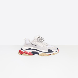Balenciaga Triple S in white, red and black leather, nubuck, mesh and stretch mesh